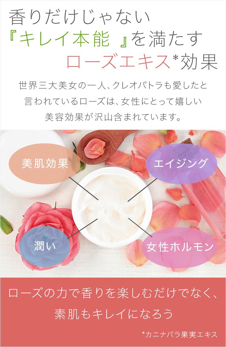 """""""香りだけじゃない『キレイ本能 』を満たすローズエキス効果"""