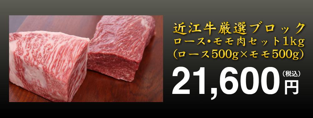 厳選した近江牛の霜降りロース500gと赤身のモモ肉ブロック500gのスペシャルセット!!霜降りの芳醇な肉と赤身の味わいをお楽しみいただけます。