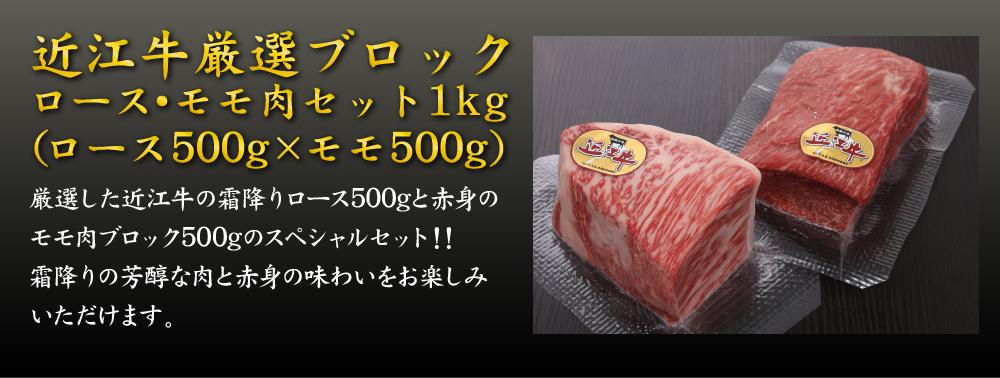 厳選した近江牛の霜降りロース500gと赤身のモモ肉ブロック500gのスペシャルセット!! 霜降りの芳醇な肉と赤身の味わいをお楽しみいただけます。