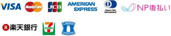 VISA MasterCard JCB AMERICAN EXPRESS DinersClub NP後払い 楽天銀行 セブンイレブン ローソン