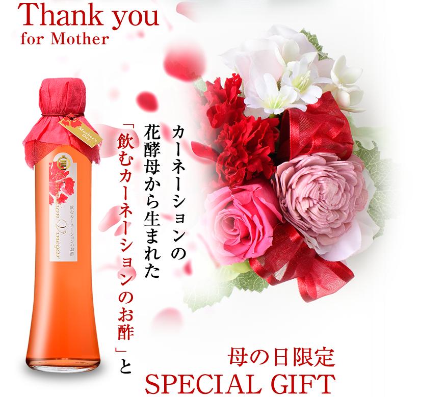 カーネーションの 花酵母から生まれた「 飲むカーネーションのお酢 」と母の日限定SPECIAL GIFT