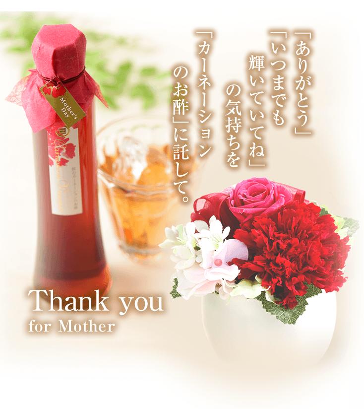 「ありがとう」「いつまでも輝いていてね」の気持ちを「カーネーションのお酢」に託して。