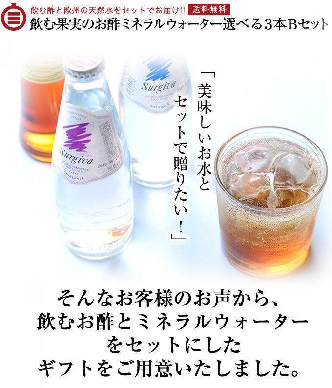 飲む酢と欧州の天然水をセットでお届け!!飲む果実のお酢ミネラルウォーター 選べる3本Bセット