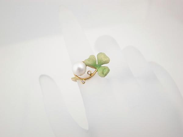 【中古】 マリエラ パールダイヤモンドリング クローバー エマーユ 8号 K18(18金 イエローゴールド) AN-61 質屋出品