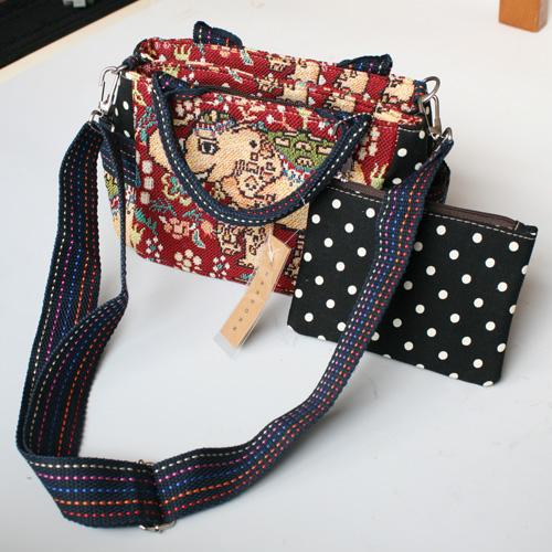 刺繍生地の2wayバッグ