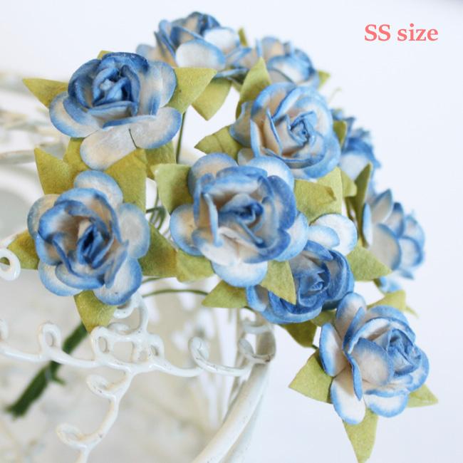 水色バラ造花