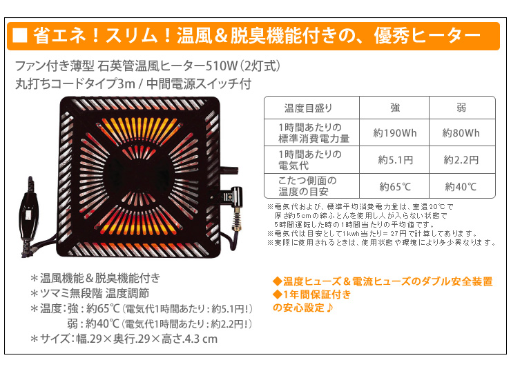 ファン付き薄型 石英管温風ヒーター510W(2灯式)