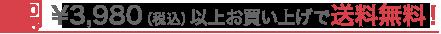 ¥3,980(税込)以上お買い上げで送料無料!