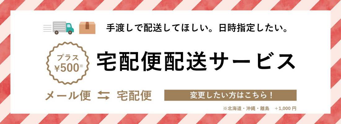 宅配便配送サービス/プラス500円(北海道・沖縄・離島プラス1000円)/手渡しで配送/日時指定したい