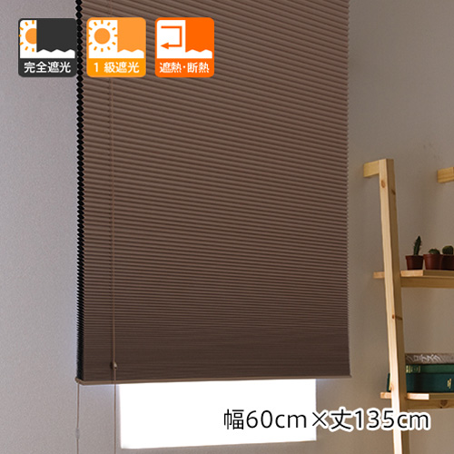 遮光性と断熱・保温効果を兼ね備えた完全遮光のプリーツスクリーン 「プレミアムハニカムシェード」(幅60cmx丈135cm)