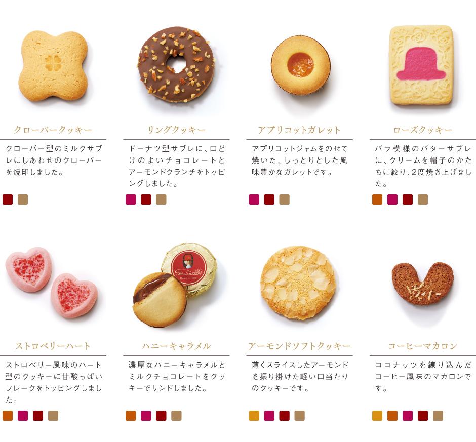 [赤い帽子のお菓子]クローバークッキー/リングクッキー/アプリコットガレット/ローズクッキー/ストロベリーハート/ハニーキャラメル/アーモンドソフトクッキー/コーヒーマカロン
