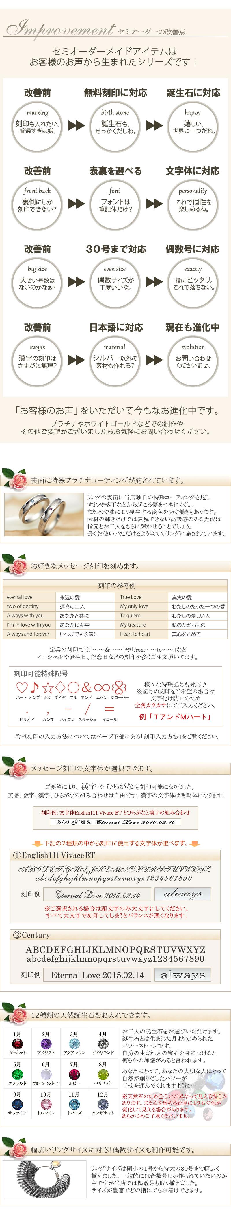 コーティング 文字体選択 誕生石選択 1号〜30号まで対応
