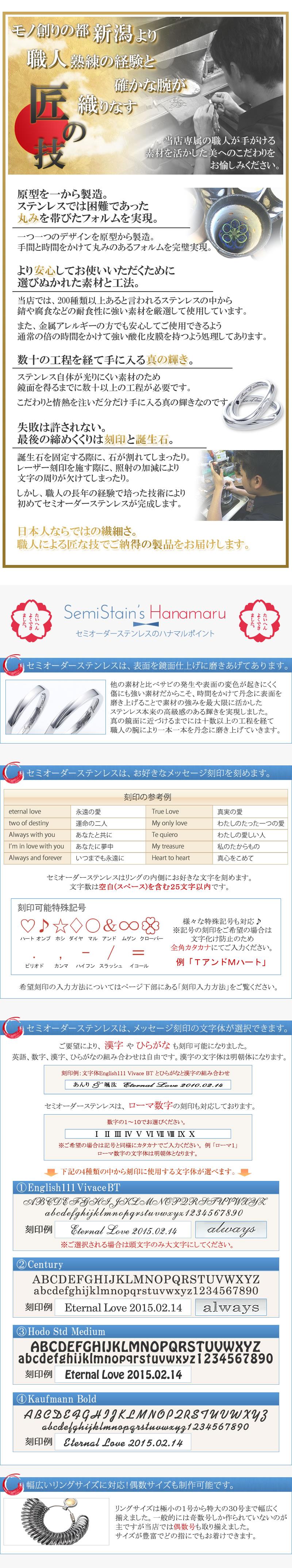 鏡面仕上げ 文字体選択 誕生石選択 1号〜30号まで対応