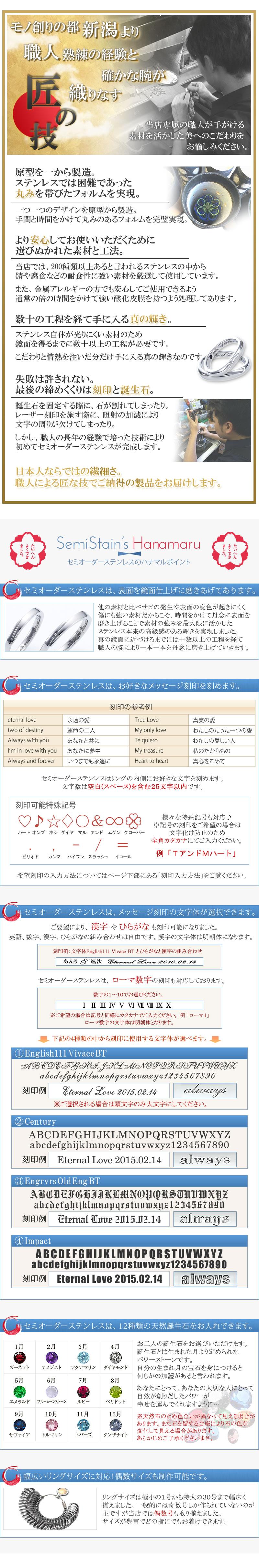鏡面仕上げ 文字体選択 誕生石選択 1号~30号まで対応