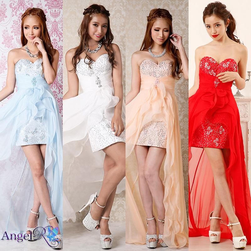 フラワー刺繍レースタイト系ショートインロングドレス