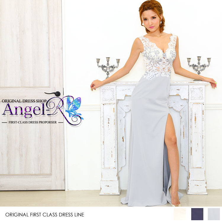 上品 レース刺繍 カラーストーン ヌーディ タイト系 ロングドレス