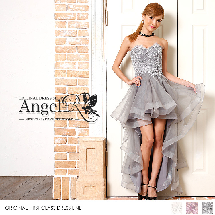 ハイ&ロータイプのふんわりシルエットレース刺繍ドレス