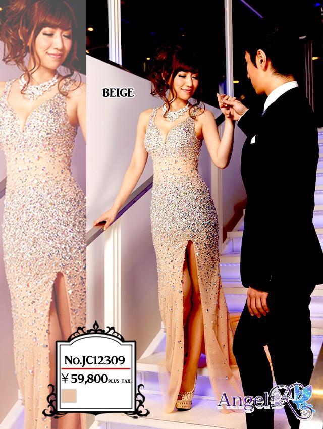 高級ビジューたっぷり背空きロングドレス