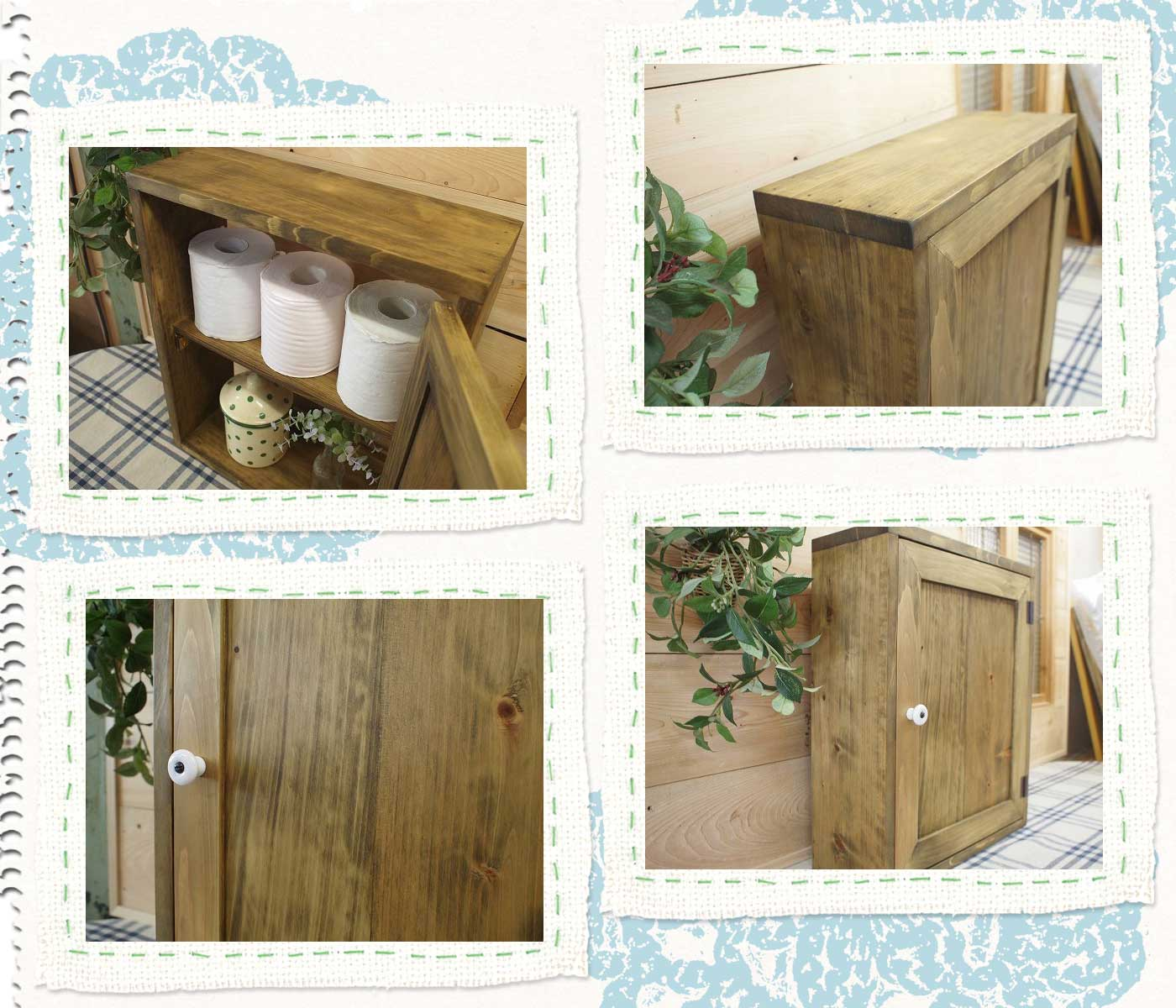 Toilet paper Cabinet wood door wooden Cypress niche for embedded type  orders made by two-stage design (antique Brown)