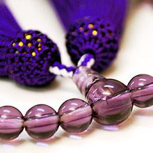 女性用略式念珠 玻璃 紫水晶