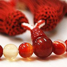 女性用略式念珠 玻璃 赤縞瑪瑙