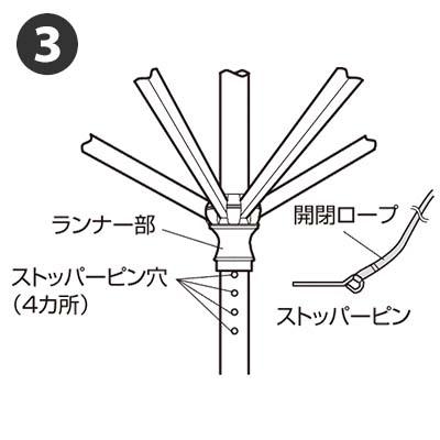 3層パラソル 2.4m