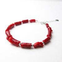 日本産血赤珊瑚<枝>18WGブレスレット