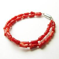 日本産血赤珊瑚<枝>2連ブレスレット