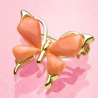 ピンク珊瑚の蝶々のブローチ