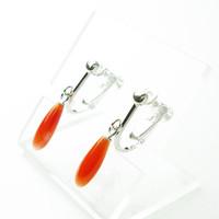 日本産赤珊瑚ドロップSVイヤリング