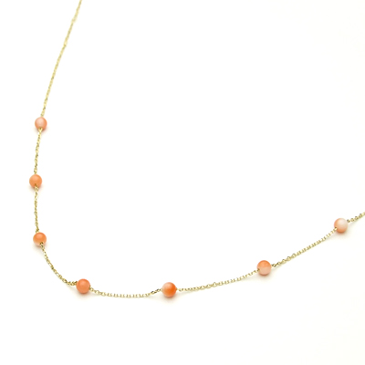 ピンク珊瑚K10ペンダント・ネックレス