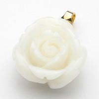 白珊瑚 薔薇 K18ペンダントトップ
