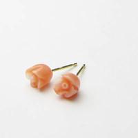 ピンク珊瑚<チューリップ>K18ピアス