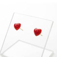 日本産血赤珊瑚<ハート>K18ピアス