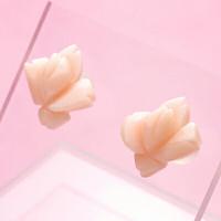 春色♪ピンク珊瑚<花>K18ピアス