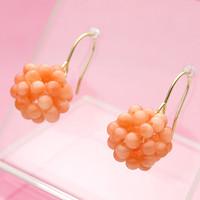 ピンク珊瑚編み・編みK18アメリカンピアス