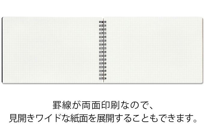 罫線は両面印刷、見開きワイドサイズでも使える