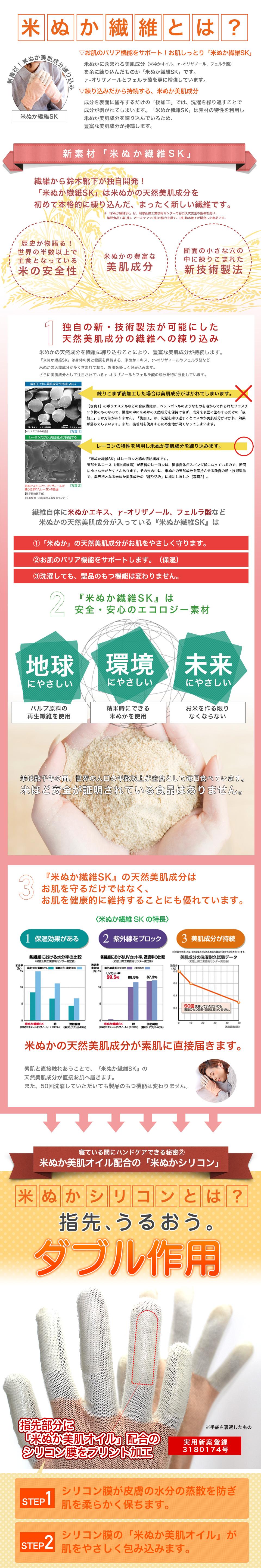 米ぬかおやすみ手袋は、荒れやすい指先まで優しく保湿。米ぬか美肌オイルが肌を優しく包むハンドケア手袋です。