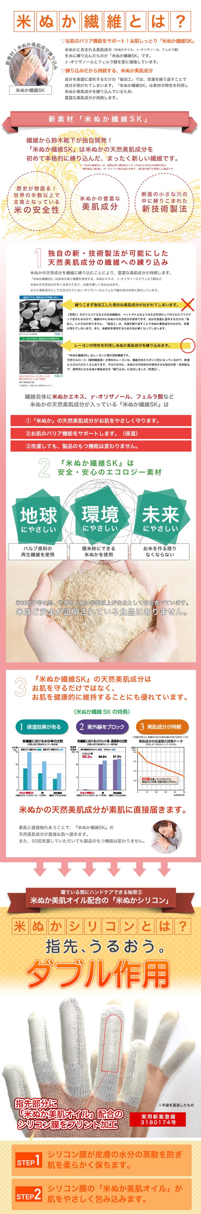 米ぬかシリコンおやすみ手袋は、指先を集中保湿します。