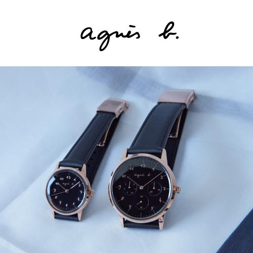 """アニエスベー""""手書き数字""""腕時計「マルチェロ!」ブラック×ピンクゴールドの上品ペアウオッチ"""