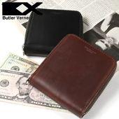 馬革レザーラウンドジップ二つ折り財布