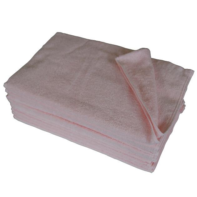 250匁フェイスタオル12枚セット:ピンク(全7色)【業務用】【両面パイル地】