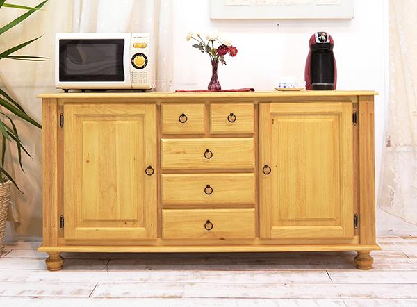 カントリー調 カウンターサイドボード 木製 キッチンサイドボード 食器棚