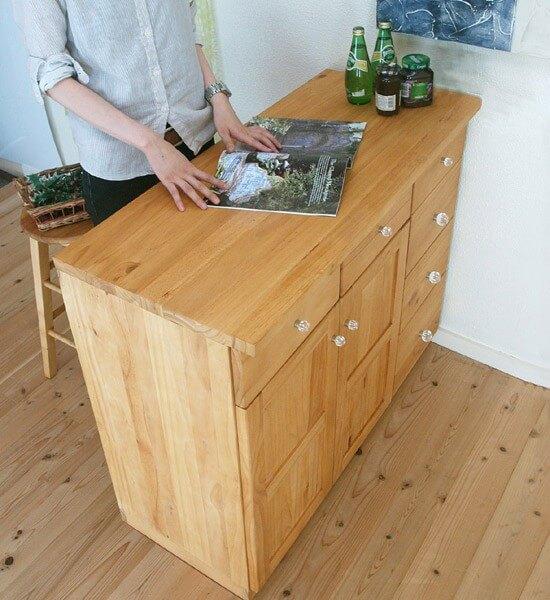 カントリー調 キッチンカウンター 木製カウンターキャビネット