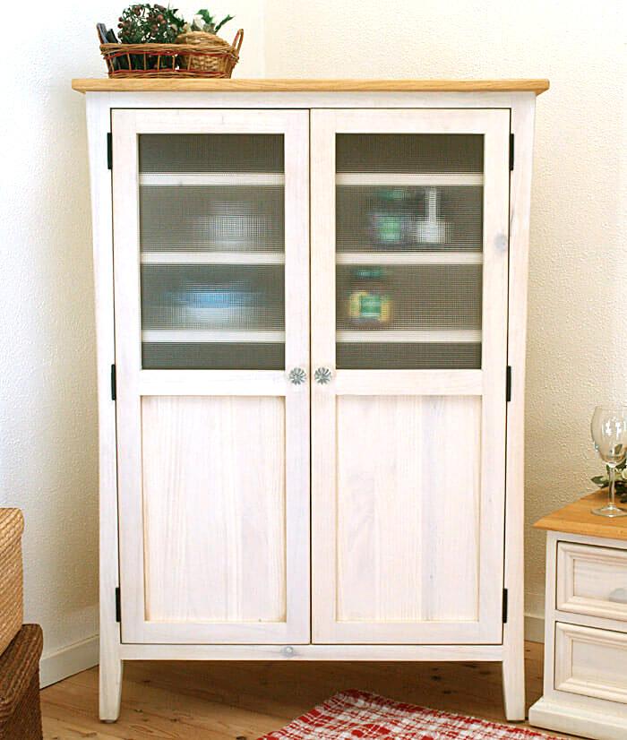 フレンチカントリー 食器棚 中が見えない すりガラス