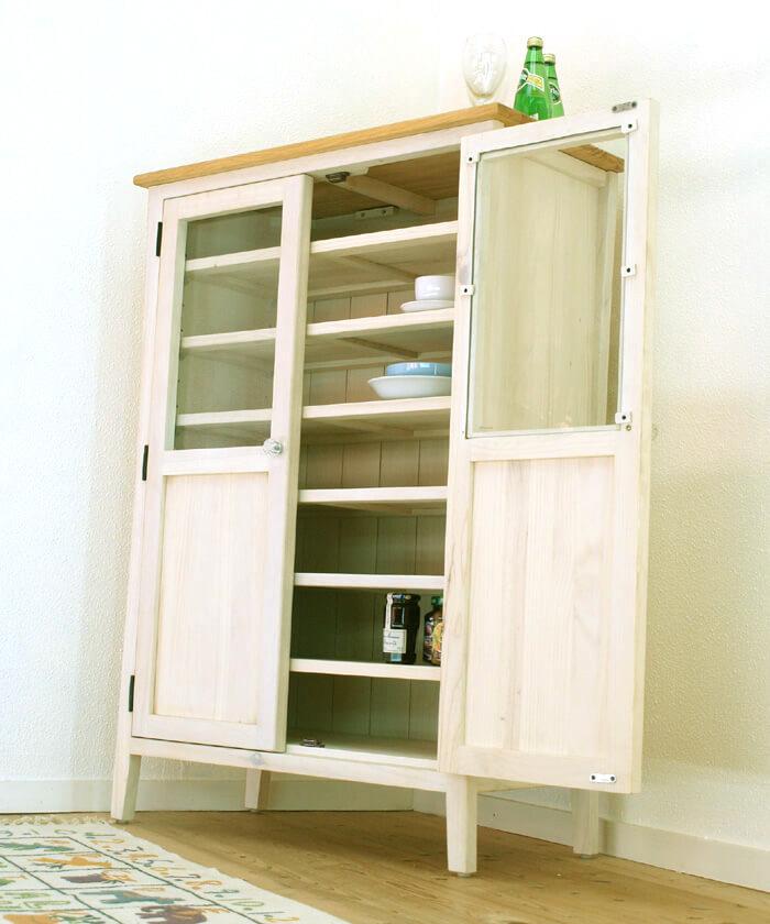 フレンチカントリー ガラス扉の食器棚 幅85cm コンパクト 収納棚