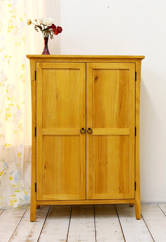 カントリー調 高さ120cm キャビネット 木製扉 収納棚