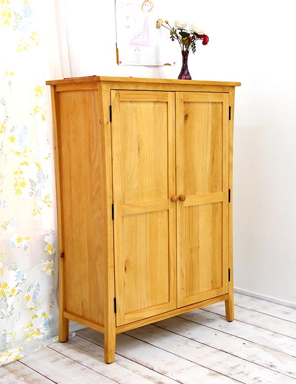 カントリーパイン 収納棚 無垢木製 木の扉の収納ケース