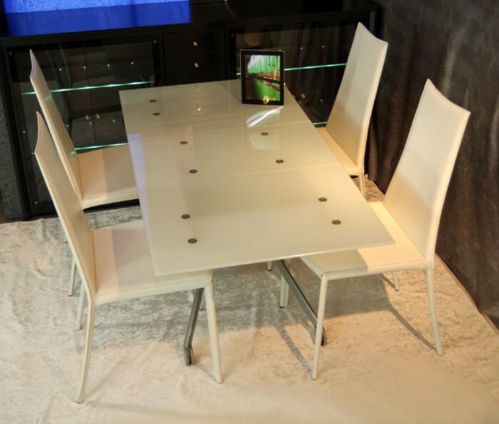 白いガラス天板 リフティングテーブル ハイバックチェア 4脚セット