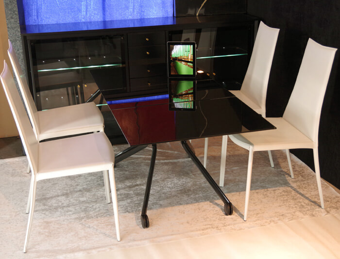 リフティング ガラス天板 黒いガラステーブル ダイニングセット